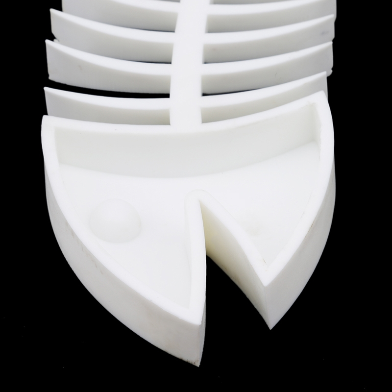 Creative Fish Bone Shape Silicone Bathroom Soap Drain Soap Holder (White)