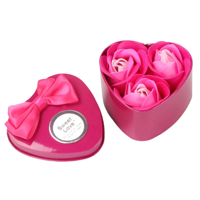 3 Soap Flowers Valentine's Day Gifts Tanabata Gifts Wedding Creative Gifts Heart Shaped Iron Box Roses (Rose red)