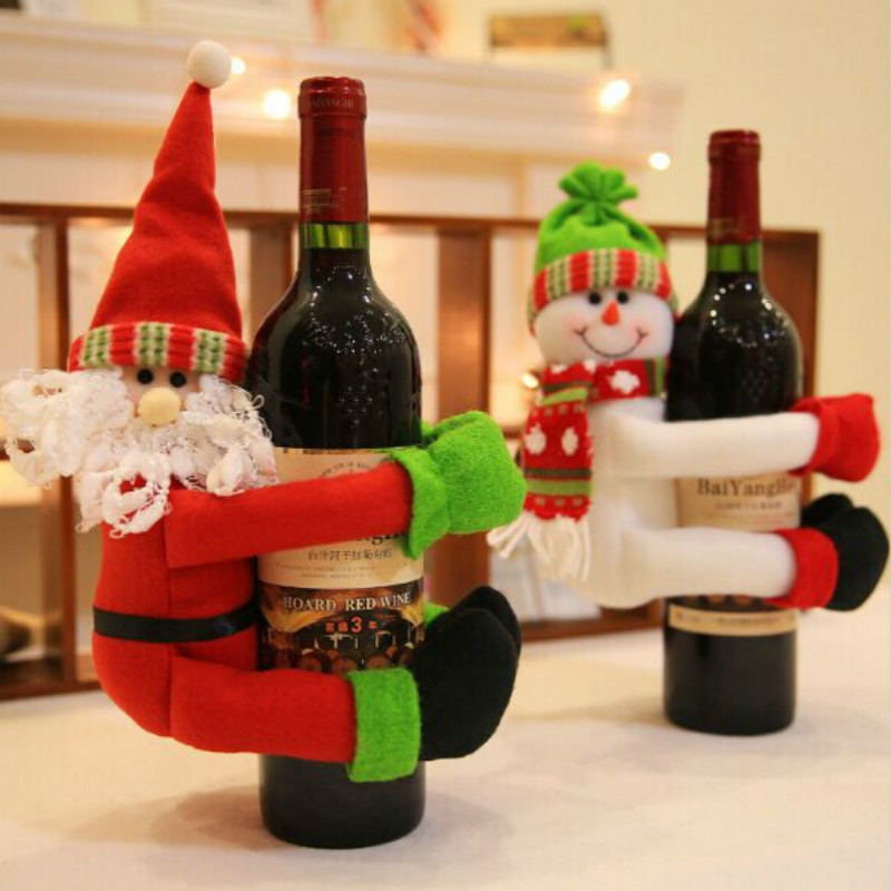 Christmas Wine Bottle Bag Cover Christmas Table Decoration (Santa Claus)