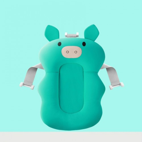 3 PCS Baby Bath Tub Newborn Foldable Bath Tub Padinfant Support Cushion Mat Bath Mat (Green Pig)