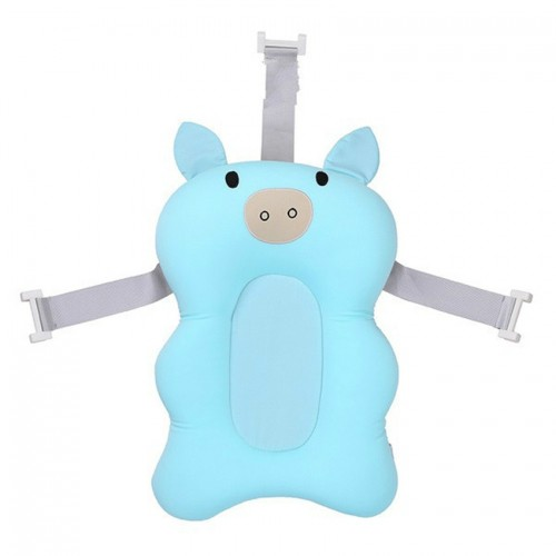 3 PCS Baby Bath Tub Newborn Foldable Bath Tub Padinfant Support Cushion Mat Bath Mat (Light blue pig)