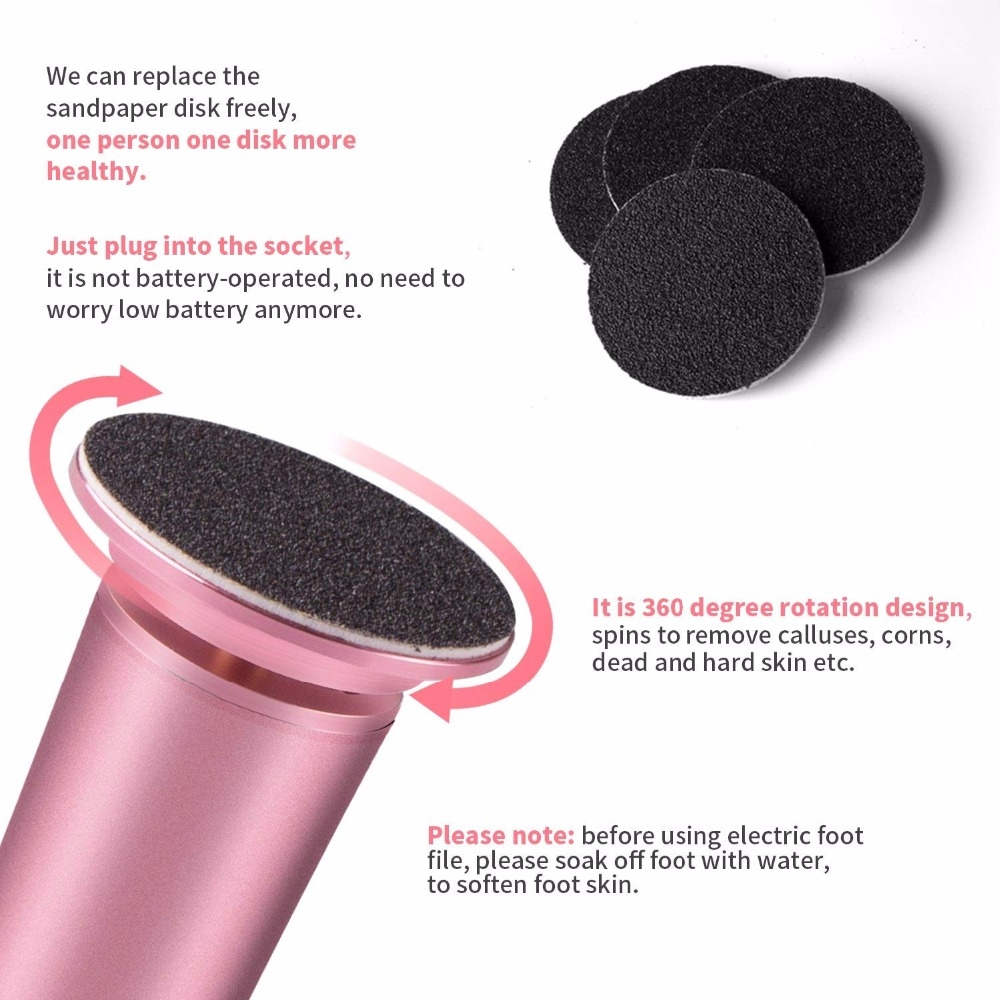 Electric Foot File Speed Adjustable Sandpaper Discs Callus Remover Pedicure Fast Remove Feet Hard Cracked Dry Dead Skin Tool, Plug Type: EU plug (Pink)