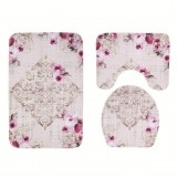 3 In 1 Anti-slip Toilet Seat Cover Toilet Mat Bathroom Bath Mat Carpet Set (SY37)
