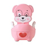 Baby Potty Toilet Bowl Training Seat Portable Urinal Comfortable Backrest Cartoon Cute Toilet (Pink cute dog)
