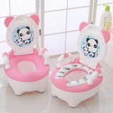 Baby Potty Toilet Bowl Training Seat Portable Urinal Comfortable Backrest Cartoon Cute Toilet (Padded pink cute dog)