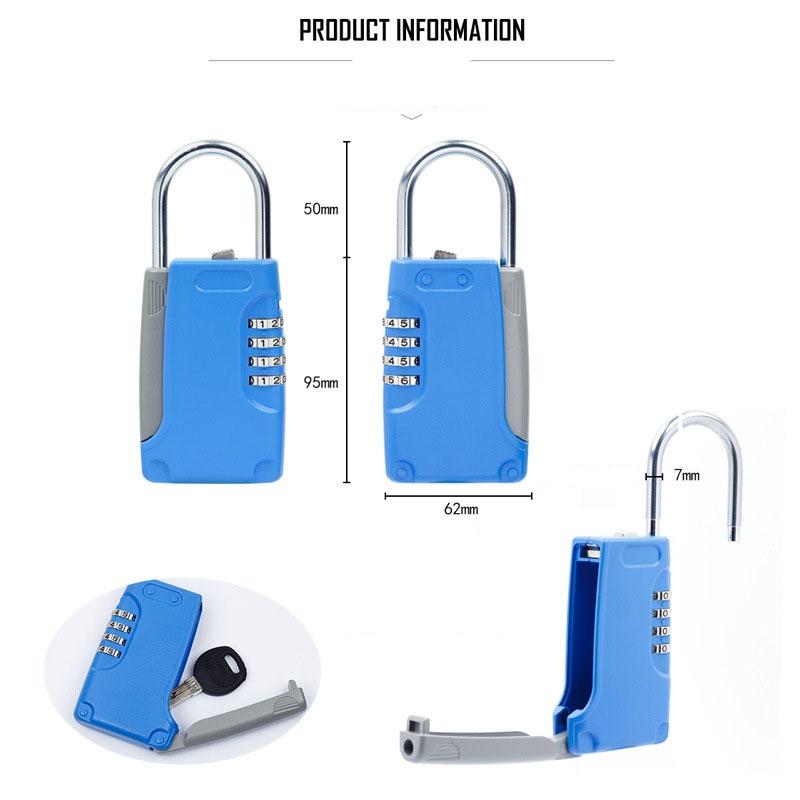 3 PCS Key Safe Box Password Lock Keys Box Metal Lock Body Padlock Type Storage Mini Safes (Blue)