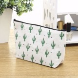 Small Fresh Cactus Cosmetic Bag Multi-Functional Canvas Hand Storage Bag Toiletry Storage Box (Mul cactus)