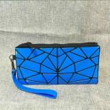 Laser Folding Portable Cosmetic Bag Variety Of Geometric Rhombic Travel Makeup Clutch Bag Storage Bag (Blue)