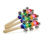 Baby Cute Jingle Rattles Toys Rainbow Pram Crib Handle Wooden Bell Stick Shake Toys Newborn Baby Rattle Sound Toys (As show)