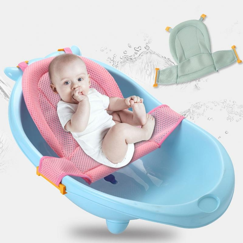 Children Shower Rack Baby Bath Net Shower Rack Bath Mat Net Pocket Newborn Bath Bed Bath Rack (Pink)