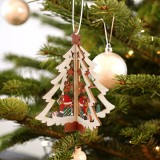 3D Christmas Wooden Pendant Christmas Tree Ornament DIY Santa Xmas Tree Decoration (Christmas tree)