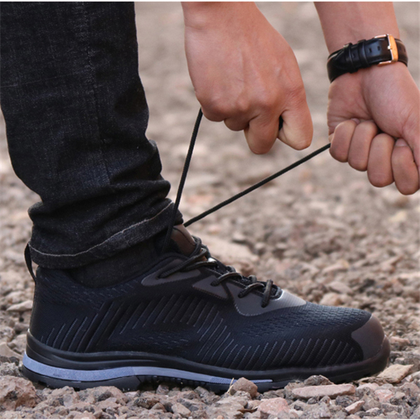 TENGOO Safety Shoes Non-Slip Anti-Smashing Steel Toe Work Shoes Waterproof Hiking Camping Fishing Shoes