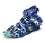 Lostisy Women Casual Cross Strap Fringe Color Stitching Sandals