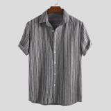 Mens 100% Cotton Summer Stripe Breathable Single Breasted Casual Shirts
