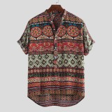 Mens Ethnic Colorful Printed Turn Down Collar Casual Henley Shirts