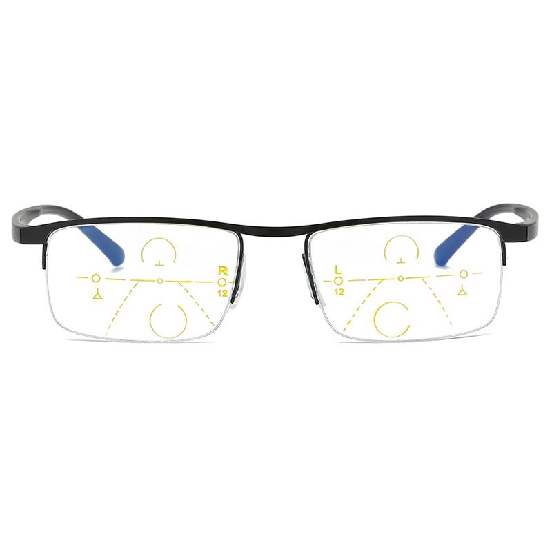 Unisex Light Multi-focus Anti-blue Light Anti-fatigue Flexible Vogue Computer Square Reading Glasses