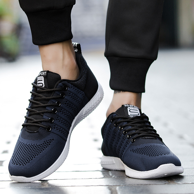Men Breathable Knitted Lightweight Running Sports Sneakers