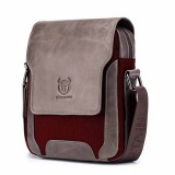 Bullcaptain Men Genuine Leather Bag Patchwork Cowhide Crossbody Bag