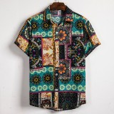 Mens Summer Ethnic Printed Breathable Short Sleeve Shirts