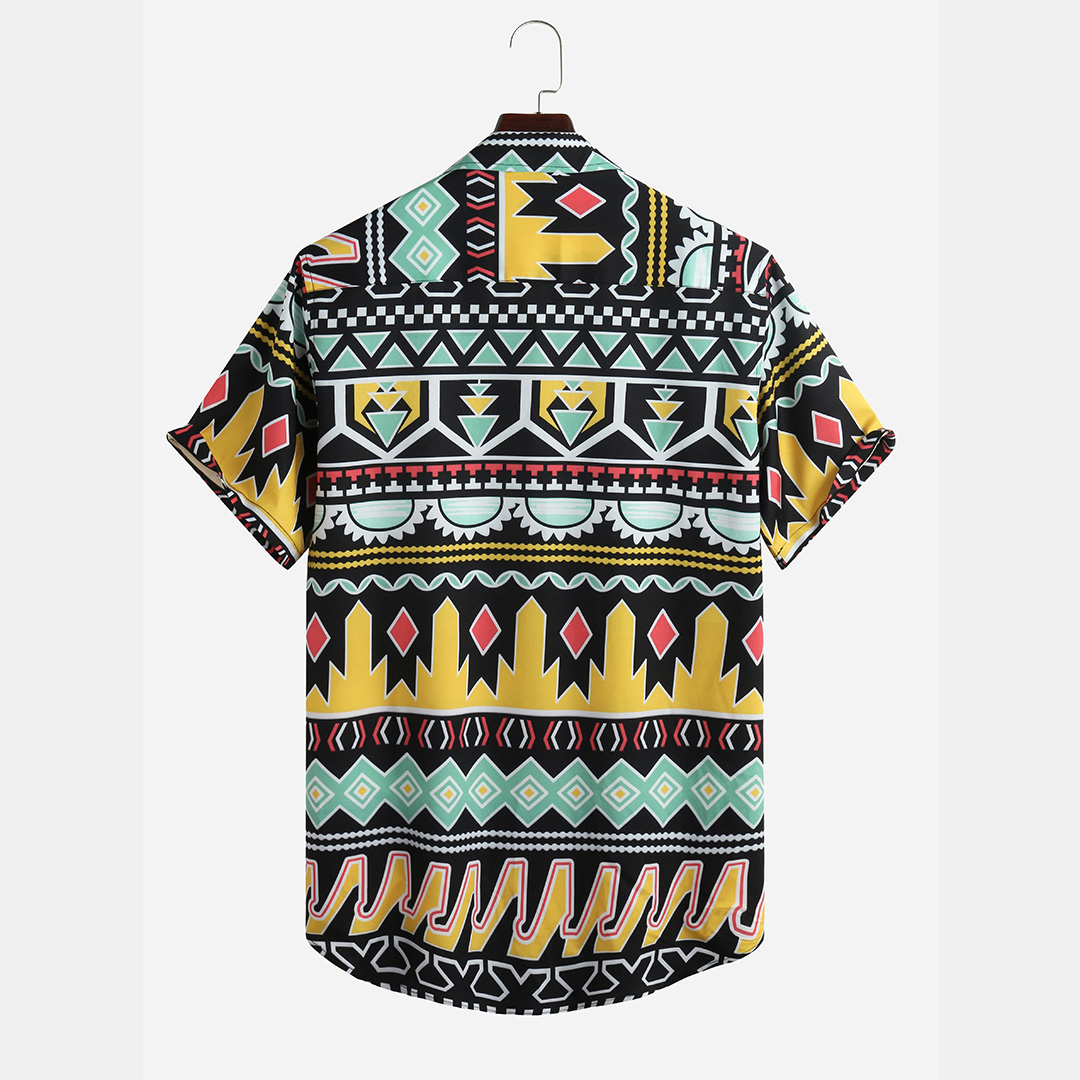 Mens Summer Colorful Stripe Printed Breathable Casual Shirts