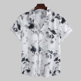 Mens Summer Chinese Style Ink Painting Printed Short Sleeve Casual Shirts