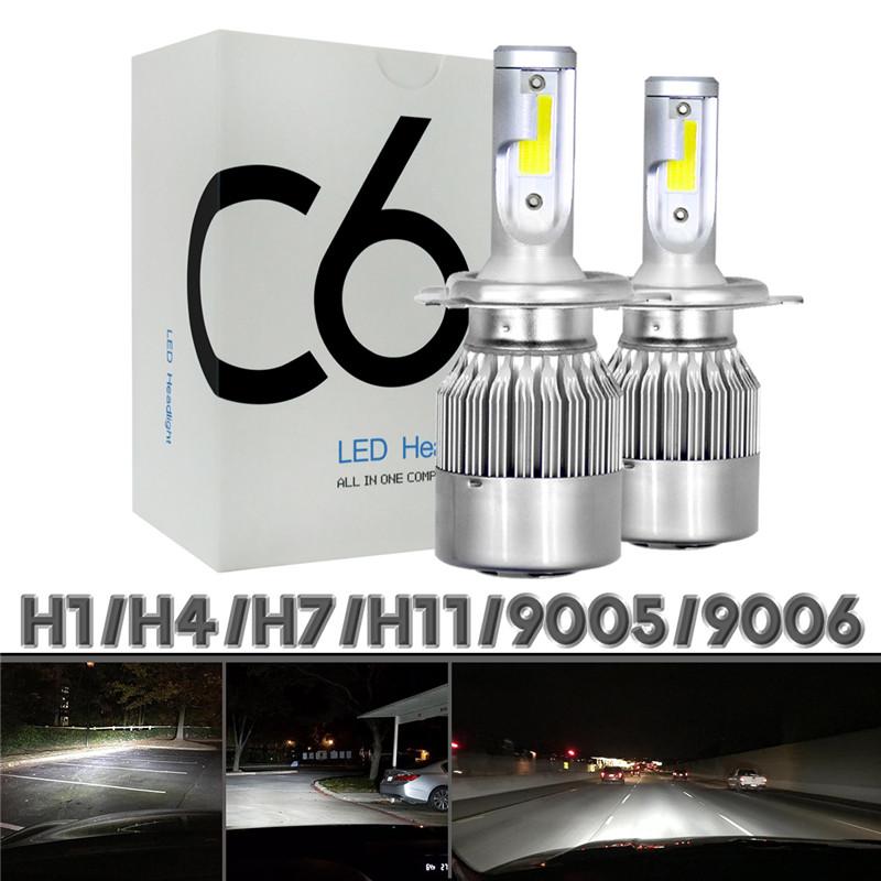 2pcs 12V/24V C6 LED Bulb H1/H4/H7/H11/9005/9006 White Headlights 72W 7200Lm COB Headlamp Auto Fog Light Lamp Bulb