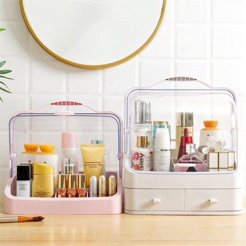 Box Storage Portable Cosmetic Large-capacity Dust-proof Plastic Desktop Drawer Organizer