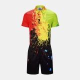 Men Splash Ink Printed Short Sleeve jumpsuit Casual Suits