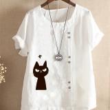 Women Short Sleeve Cat Print Crew Neck Button Casual T-shirts