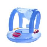 Kids Baby Swim Seat Boat Inflatable Float Cushion Sunshade Swimming Ring-Blue/Pink