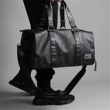 Men Black Leather Large Capacity Duffle Travel Gym Weekend Overnight Bag
