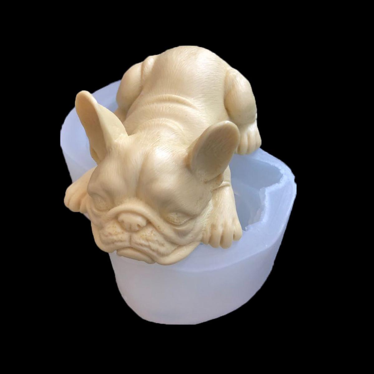 Bull Dog Silicone Soap Mold Animal Chocolate Model Cake Mould Decor DIY Baking Tool