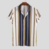 Mens Fashion Colorful Stripe Turn Down Collar Casual Summer Shirts