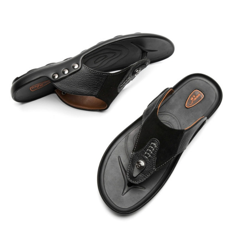 Men's Leather Rubber Sandals Slippers Waterproof Quick Drying Beach Bath Walking Slippers