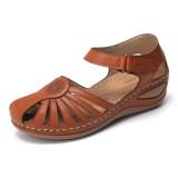 Lostisy Large Size Women Floral Comfy Breathable Hook Loop Sandals