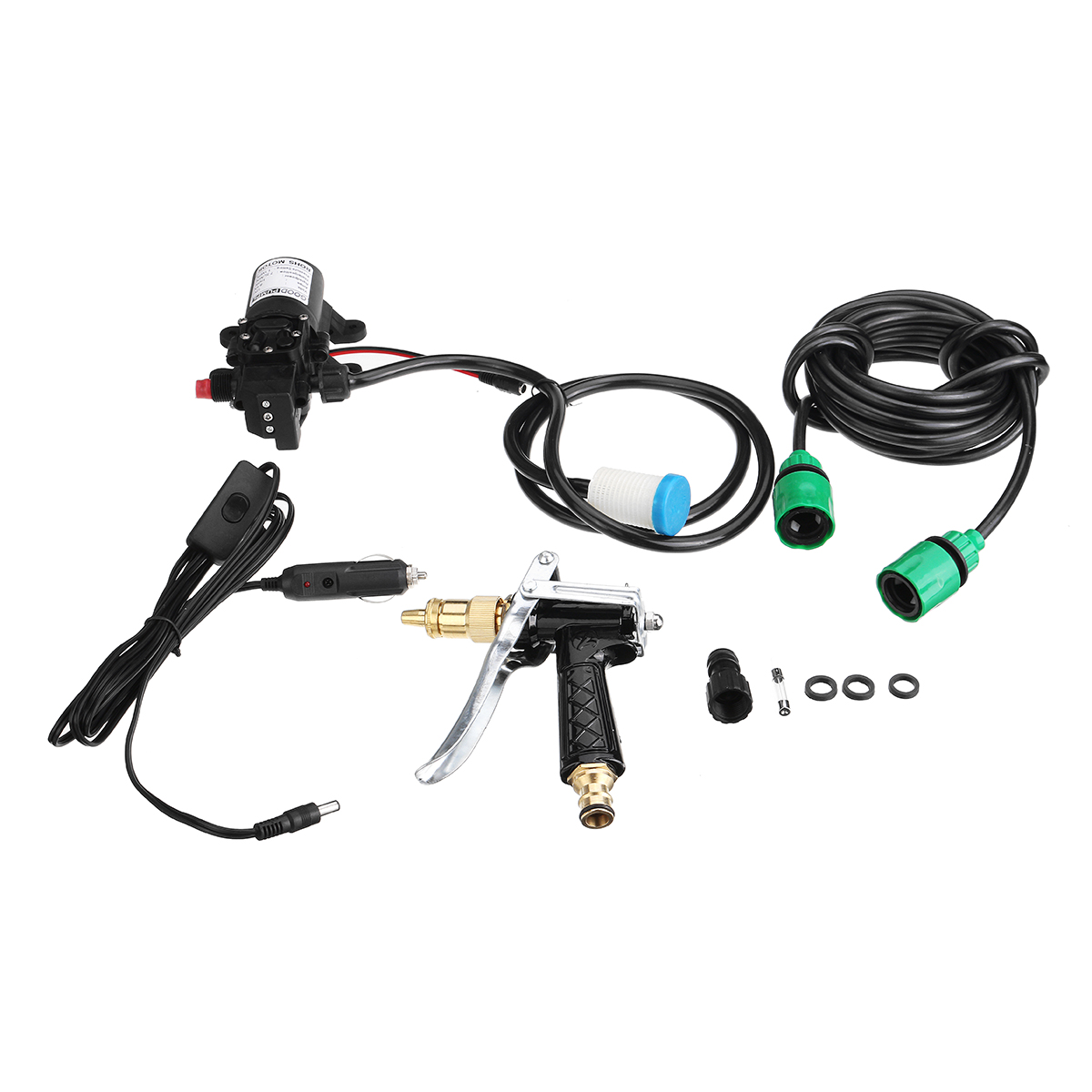 100W 12V High Pressure Car Electric Washer Squirt Sprayer Self-priming Pump Clean Kit