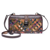 Women Weaving Patchwork Vintage Genuine Leather Long Wallet Casual Clutch Crossbody Bag