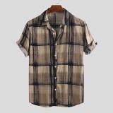 Mens Summer Plaid Printed Breathable Turn Down Collar Loose Casual Shirts