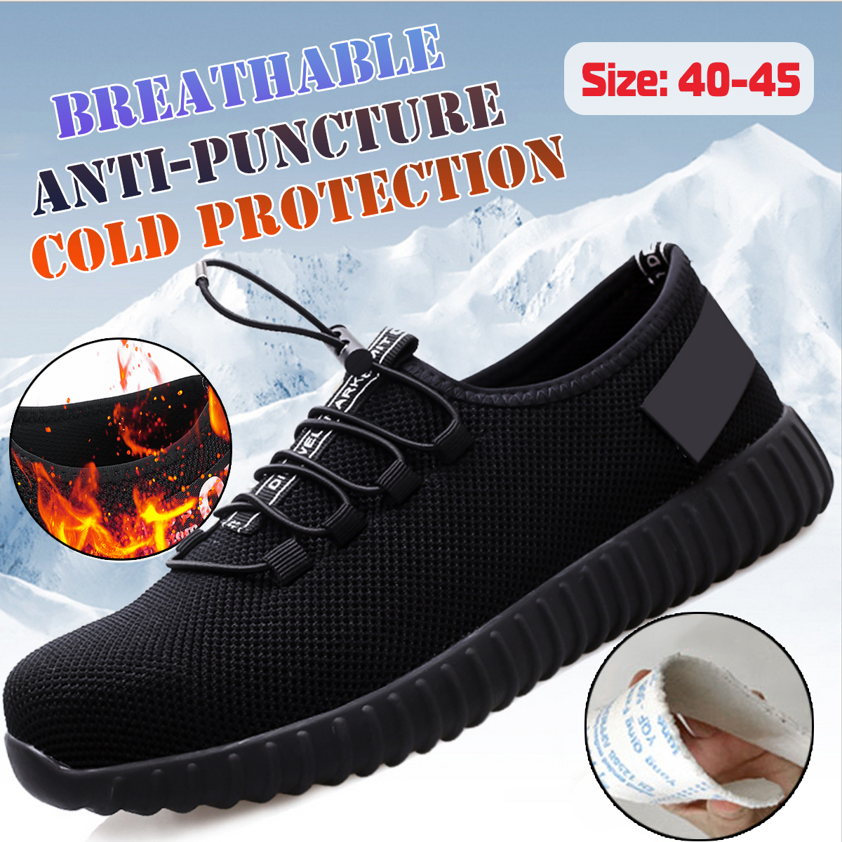 TENGOO Men's Safety Shoes Waterproof Work Shoes Running Hiking Camping Shoes Non-Slip Soft