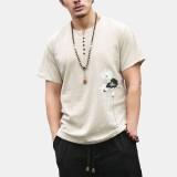Men Ethnic Retro style Linen Large Size Short Sleeve T-Shirts