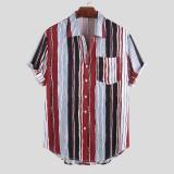 Mens Summer Casual Loose Short Sleeve Striped Shirts