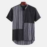 Mens Vintage Chinese Style Summer Casual Comfy Patchwork Striped Shirts