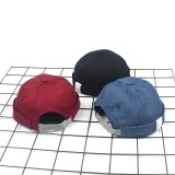 Mens Summer Street Trend Melon Hat Adjustable Breathable Solid French Brimless Hats Vogue Retro Skullcap Sailor Cap