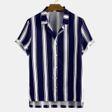 Mens Funny Hit Color Stripe Printing Turn Down Collar Short Sleeve Casual Shirts