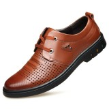 Men Genuine Leather Breathable Hollow Out Business Oxfords
