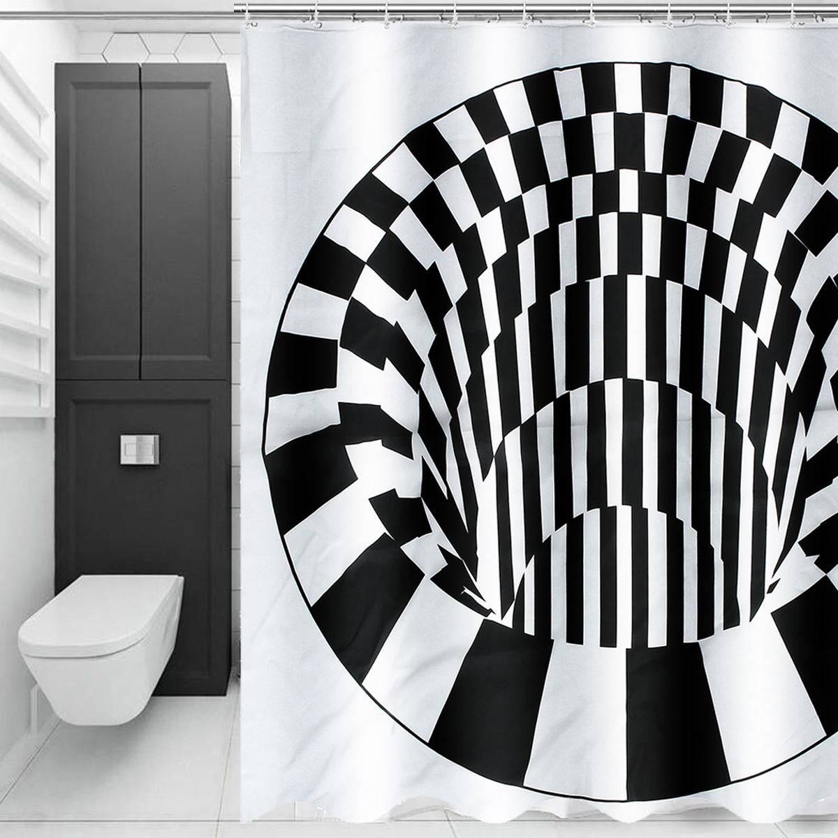 Durable Bathroom Shower Curtain Black White Waterproof Bath Curtain with Hook