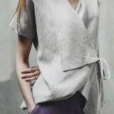 Women Pure Color Cotton Short Sleeve Irregular Hem Blouse