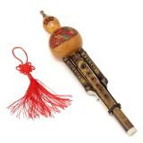Natural Bamboo Chinese Hulusi Gourd Cucurbit Flute Bb Tone Yunnan Ethnic Music Instrument