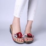 Lostisy Women Flowers Transparent Rivets Wedges Slide Slippers