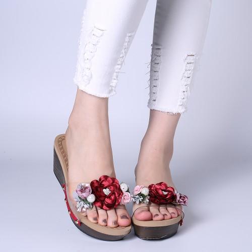 Lostisy Women Flowers Transparent Rivets Wedges Slide Slippers